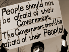 people should not be afraid of their government